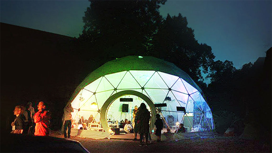 Sfera is a spherical tent/mobile café that is used to reach people in Poland and other parts of Europe